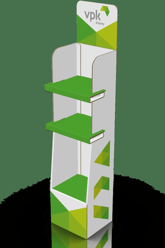 3D-skisse av gulvdisplay med to hyller og et større rom sett skrått fra siden