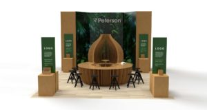 3D-bilde av ulike Peterson elementer laget i papp sett forfra