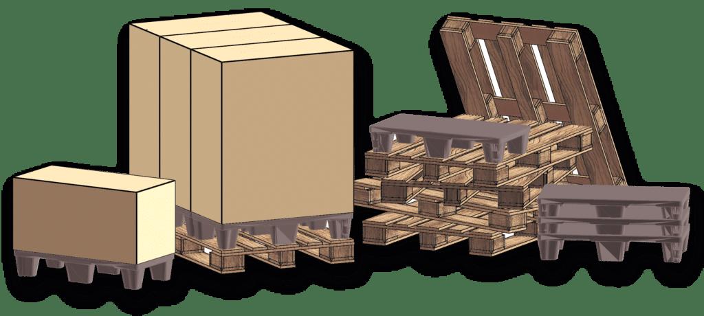 Illustrasjon av paller i ulike størrelser og forhold til Europall